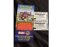 2 x Alton Towers Tickets Monday 15th may 15/05/17