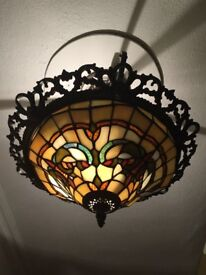 Tiffany style ceiling uplighter pendant shade - round