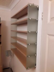 BEECH FROSTED GLASS DVD STORAGE WALL UNIT