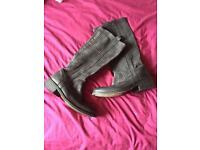 Superdry Black Biker Boots - Size 5
