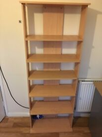birch bookcase with 5 shelves h180x d29 x w68