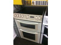 Cream Hotpoint 60cm ceramic hub electric cooker grill & double fan assisted ovens with guarantee