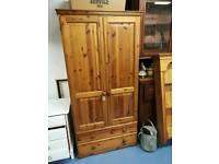 Pine wardrobe with drawers