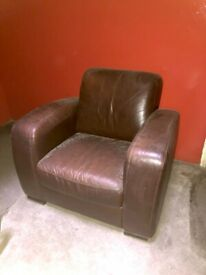 Large leather snuggle chair