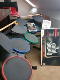 Wii drums and guitar set plus games