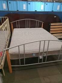 Used double metal bed frame including mattress