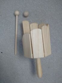 Wooden stir drum / tongue drum with handle, beater and ball. Interesting percussion instrument.