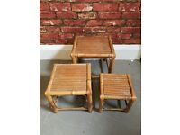 Vintage mid century nest of bamboo tables