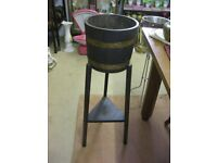 VINTAGE OAK BRASS BOUND BARREL PLANTER STAND. FREE-STANDING VIEWING/DELIVERY AVAILABLE
