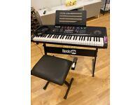 RockJam RJ761-SK 61 Keyboard Piano Bench Keyboard Stand Headphones Sustain Pedal