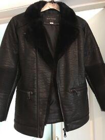 Boys river island faux leather jacket