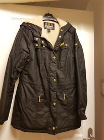 Ladies Barbour International Flywheel Waxed Parka Jacket - Black - Size 14 BNWOT
