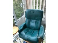 Two stressless recliner chairs and footstools