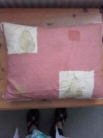 3 dark terracotta and sage green cushions with pear (poire) print