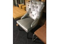 One new french velour buttoned knockerback chair