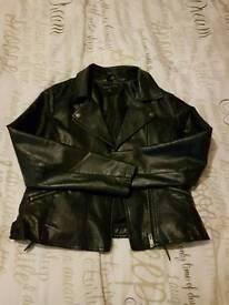 Black leather jacket-size14