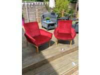 Pair of lovely Red Parker Knoll Armchairs for sale