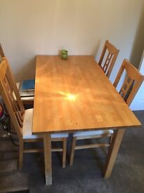 Wood dining table with 4 Chairs (IKEA)