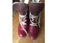 Gabor leather fur boots