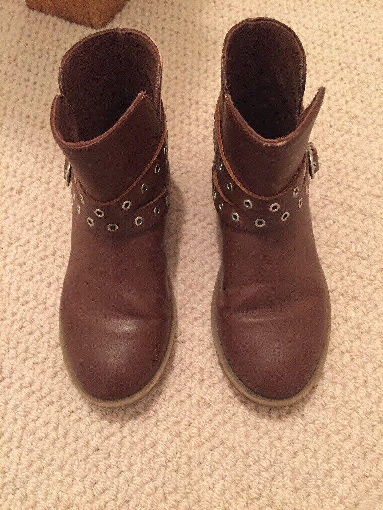 ZARA girls tan leather boots, size 31 (uk 13)