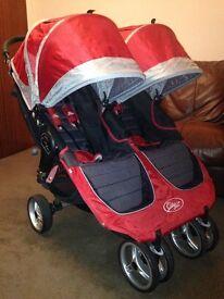 CAN POST Baby Jogger City Mini Double Puschair & Raincover Award Winning Twin Pram Buggy RRP £480
