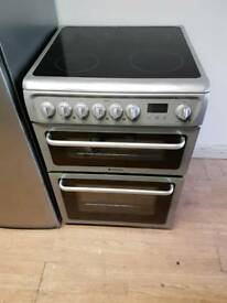 HOTPOINT DOUBLE OVEN ELECTRIC COOKER 60CM WIDTH SILVER