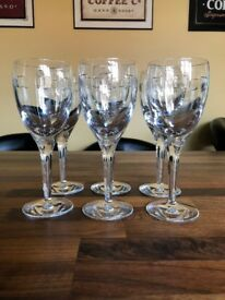"Waterford John Rocha ""Geo"" design crystal white wine glasses set of six RRP £210+"