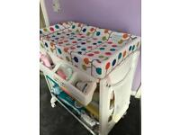 Baby changing unit and built in bath