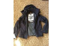 Superdry men's jacket navy size small/12/13yrs too £50 vvgc