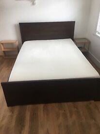Double bed, little used, dark oak with orthopedic mattress