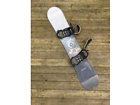 barely used high end Palmer Clutch 161 snowboard with Salomon bindings and flightworthy Burton bag