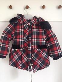 Girls Mayoral tartan jacket - age 12 months