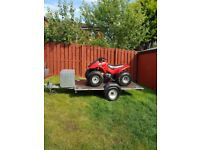 Flat bed trailer with box storage ideal for quad or motorbikes