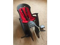 Hamax Smiley Child Bicycle Seat, with Hamax rain poncho, both red, both as new. £60