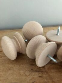 Unfinished Wooden Bun Cupboard knobs