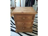 Antique pine 3 drawers bed side cabinet