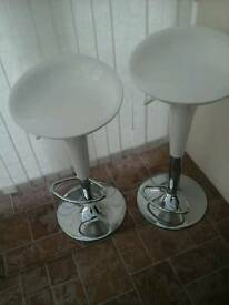 White Plastic & Chrome Bar Stools x2