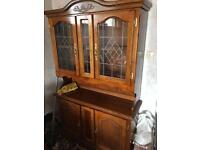 2 Solid wooden dressers with leaded glass