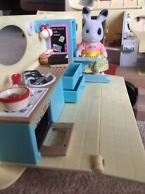 Sylvanian Families Caravan and car with added accessories