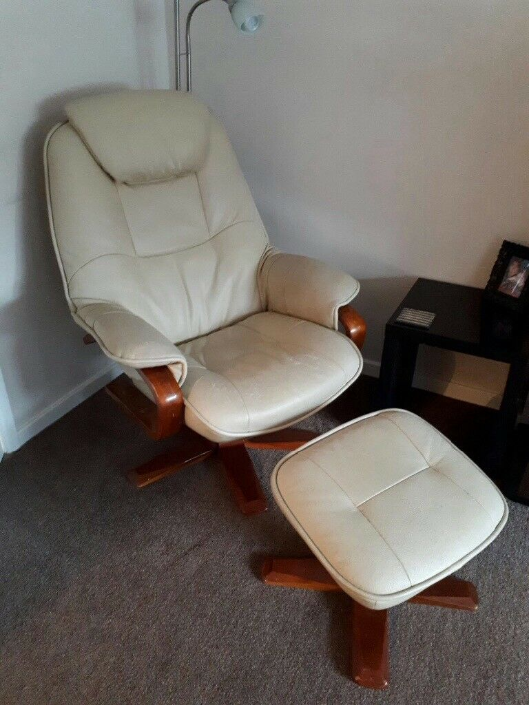 leather cream recliner chair with wooden arms and stand with