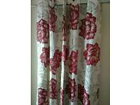 M&S large eyelet elegant red mix floral curtains