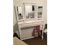 Shabby chic dressing table and 3 way mirror