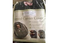 Brand new baby car seat cover, grey and pink
