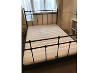 Ikea metal double bed frame with mattress optional
