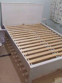 Light Grey Wooden King Size Bed Frame, Ikea