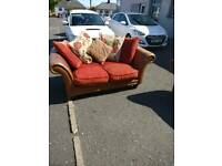 3 +2 brown leather and cloth suite