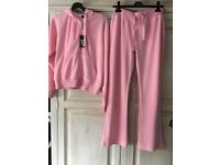 Ladies pink velour tracksuit new