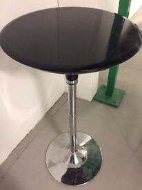 Tall Bistro Table with Chrome Base & Black Plastic Top