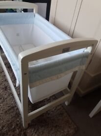 Silvercross Nostalgia Crib. Baby blue. Canopy never used, material still in original packaging.