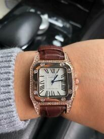 CARTIER SANTOS 100 DIAMOND BROWN LEATHER WATCH - BRAND NEW BOXED - ROSE GOLD